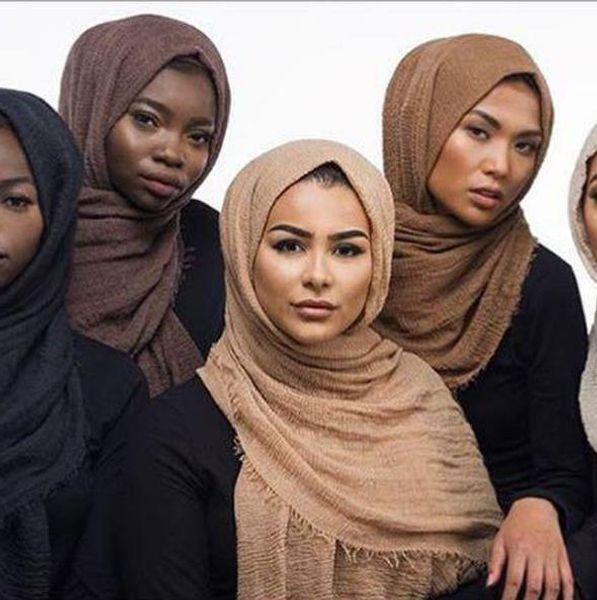 Women Maxi Hijabs Shawls Oversize Islamic Head Wraps Soft Long Muslim Frayed Crepe Premium Cotton Plain Hijab Scarf 20 pcs CNY217