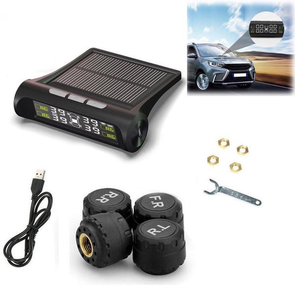 Solar Powered 4 Sensor interno Sistema de alarma de presión de neumáticos TPMS Sistema inalámbrico Monitor de presión de neumáticos del coche
