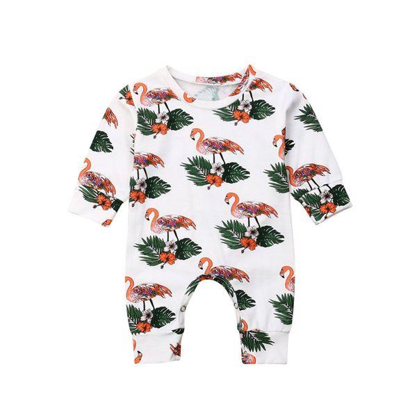 INS Baby Flamingo Monos estampados de manga larga Cottoon Baby One-piece Newborn Infant Romper Otoño Invierno Baby Cute Casual Cloth C82605