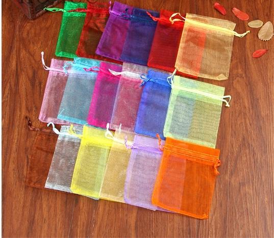 100 pz / lotto 9x12 gioielli sacchetti regalo organza imballaggio gioielli drawable sacchetti regalo sacchetti regalo di nozze di Natale