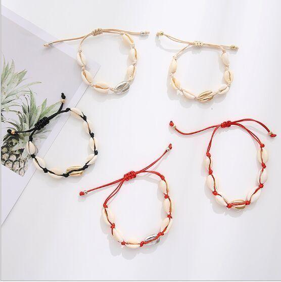 1pc Natural Seashell Handmade Hand Knit Bracelet Shells Bracelets Beach Ocean Shells Charm Bracelet Delicate Jewerly 8613-8619