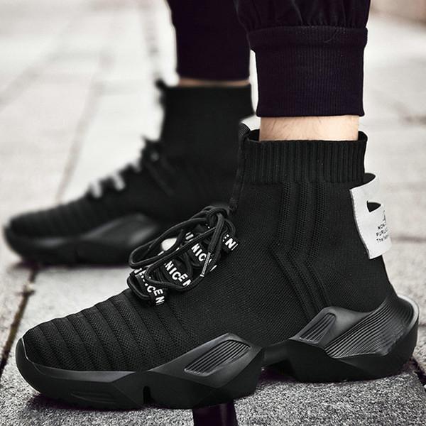 Hommes Poids léger Chaussures de course Chaussettes Printemps Automne respirant Noir Anti Slip Homme Mesh Chaussures de sport Chaussures de sport de marche B31-18