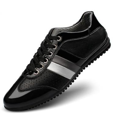 Hot Sale-patent leather Mens shoes big size sneakers patchwork mens leisure walking boots striped colour breathing flats for Men zy802