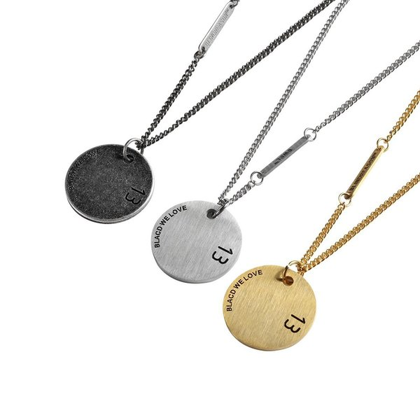 Fashion Jewelry Men Round Card Charm Pendant Necklaces Trendy Necklace Stainless Steel Design 70cm Long Chain For Men