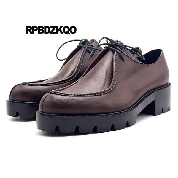 Artı Boyutu Derby Lüks Pist Erkekler Kahverengi Hakiki Deri Ayakkabı Sivri Burun Platformu Lace Up Marka Oxfords Siyah Moda Creepers
