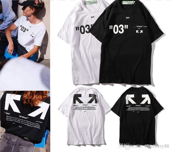 19ss Spring mens t-shirts Letter Arrow Painting t shirt womens White complex line 03 tshirts Round collar hip hop top tees