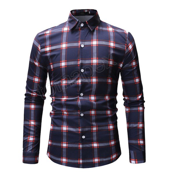 Camisa a cuadros moda hombre 2019 primavera nueva camisa a cuadros rojos hombres Slim Fit camisa de vestir de manga larga para hombre Chemise Homme Casual XXXL