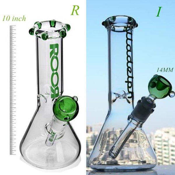 10 Inch IR Logo Verde di vetro libera acqua Bong dritti Tubi acqua Vetro Con In Ciotola 18 millimetri Donestem 14 millimetri della