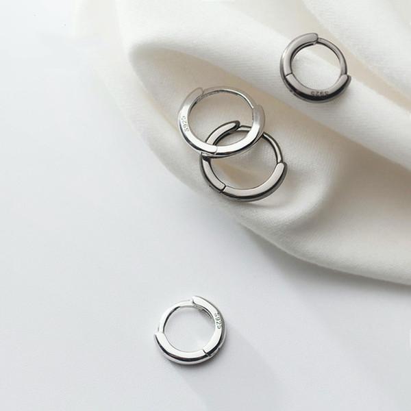 925 Sterling Silver 10MM/12MM Punk Black Hoop Earring Ear Cuff Clip For Women Girls Fashion Silver Jewelry G1995