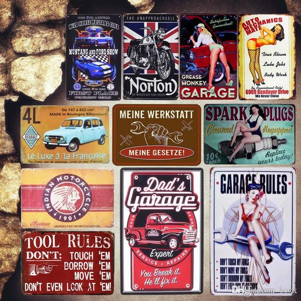 2019 Dad'S Garage Vintage Metal Tin Signs Tool Rules Decorative Plates  Parts Service Wall Stickers Motorcycle Poster Home Decor Size 30X20cm From