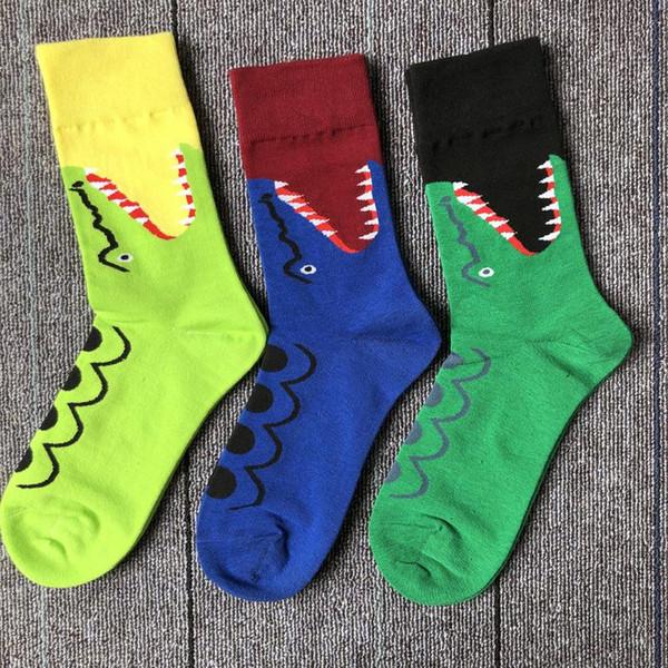 19SS meia garra bonito pequeno tubarão pequeno crocodilo tubo de personalidade meias estilo europeu de rua meias de skate academy tubo meias