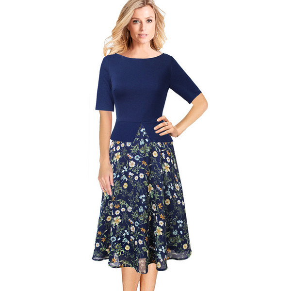 Vfemage Women Spring Autumn Vintage Elegant Floral Print Chiffon Patchwork Work Office Party Fit and Flare A-Line Midi Dress 008 Y19042401