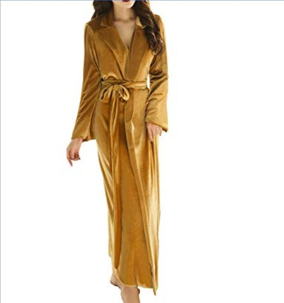Christmas Women's Long Bathrobe Fuzzy Velvet Warm Robes for Winter Plush Shawl S-XL In Stock Top Quality Women Gold Night Gown With Belt