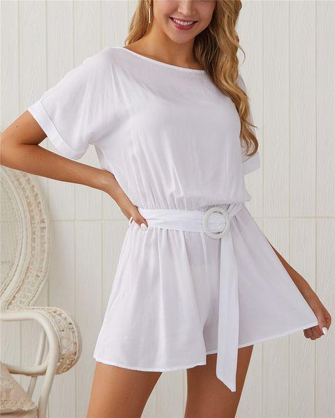Women Summer Soild Color Jumpsuits Designer Clothing Loose Short Sleeve Bodysuit Fashion Sexy Casual Combinaison Femme