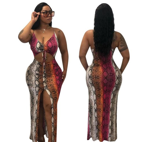 Snake Print Sexy Bandage Long Dress Women Spaghetti Strap Front High Split Party Dress Summer V Neck Cut Out Backless Sundress N19.6-1875
