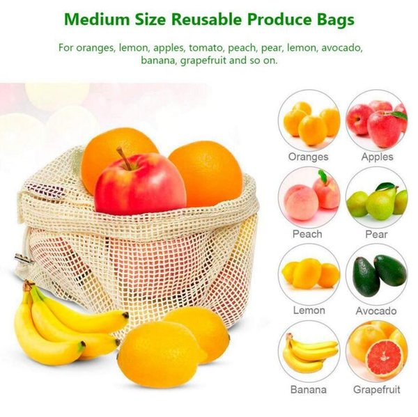 Reusable Cotton Mesh Grocery Shopping Produce Bags Vegetable Fruit Bags Hand Totes Resable Home Storage Pouch Drawstring Bag YYSY315