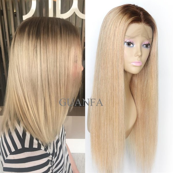 Ombre Blonde Full Lace Human Hair Wig With Baby Hair Virgin Hair 150% Density Bleached Knots Natural Hairline Lace Front Wig