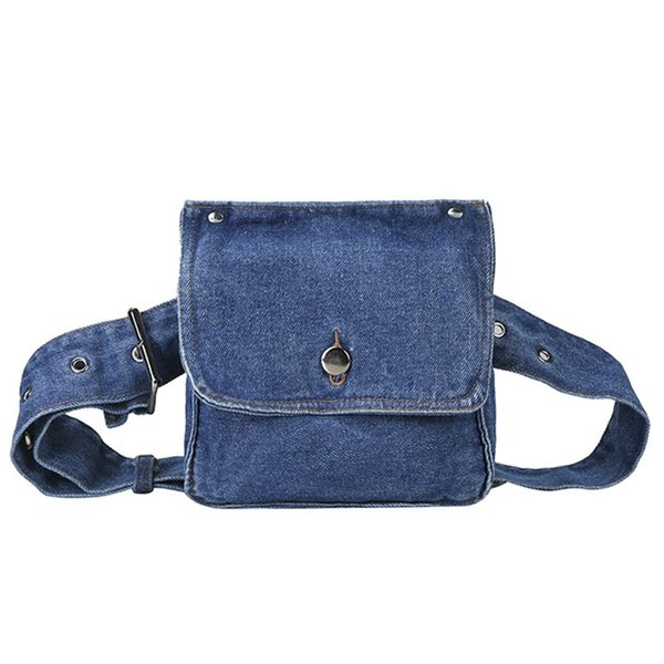 Fashion Female Retro Funny Blue Denim Small Chest Waist Belt Beach Crossbody Shoulder Bag Pack Handbag Women
