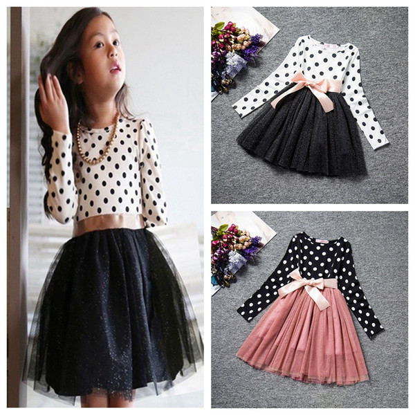 Dot Long Sleeve Dresses For Girls Baby Clothes Costume Girl Clothes School Teenage Wear Daily Wear Sash Children Casual Tutu Dress
