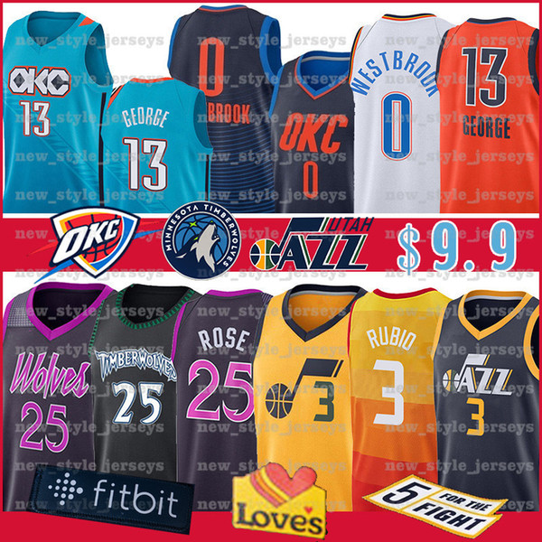 Men NCAA Russell 0 Westbrook Jersey 25 Rose Derrick College Ricky 3 Rubio Paul 13 George Basketball Jerseys