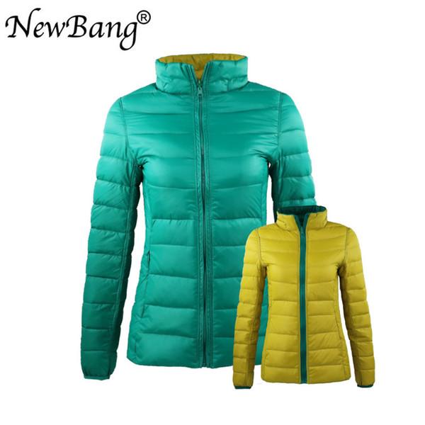 Escudo de Down NewBang 4XL 5XL 6XL de las mujeres ultra ligero abajo de la chaqueta de las mujeres con bolsa de viaje lateral doble reversible chaquetas Plus T200102