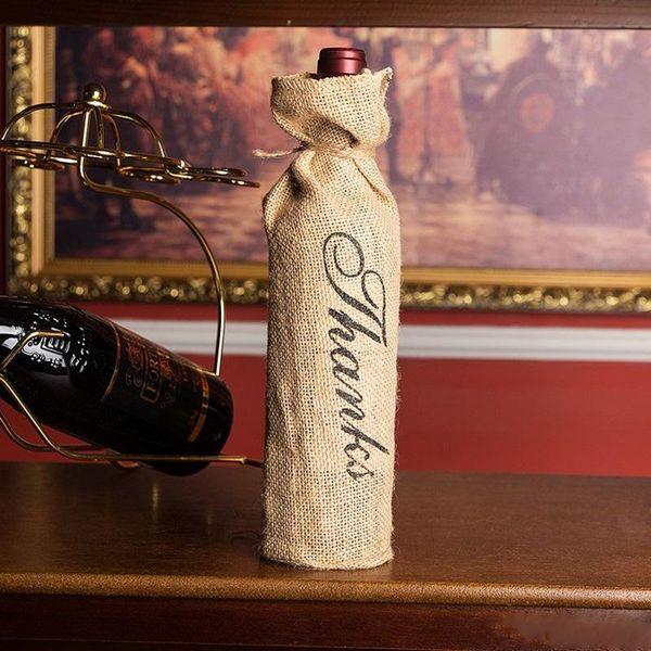 "Vintage Burlap ""Merci"" ""Thanks"" ""MR & MRS"" Jute Wine Bottle Bags Champagne Bottle Covers Wedding Party Decoration"