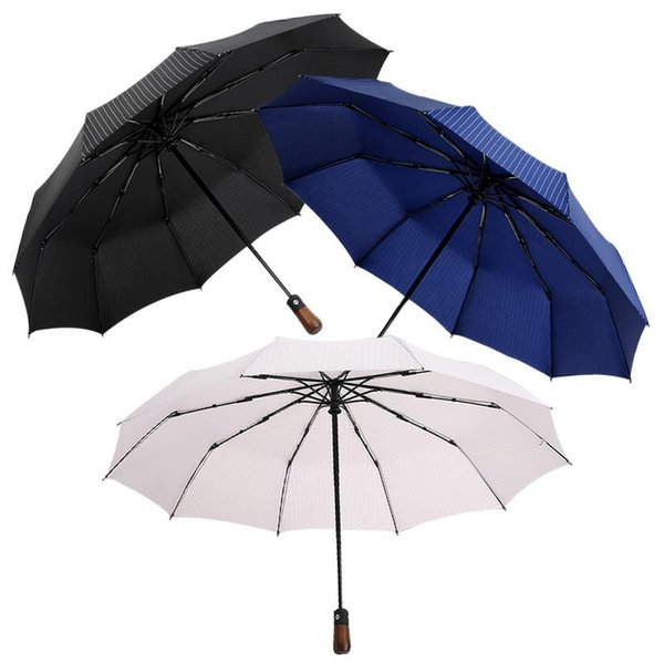 travel umbrella real wood handle auto open close vented windproof double canopy male business