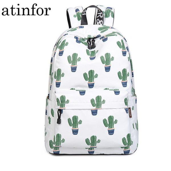 14-15.6 Inch Laptop Backpack Women Waterproof Cute Green Cactus Printing Book Bag Female School Bagpack For Teens Girls J190620