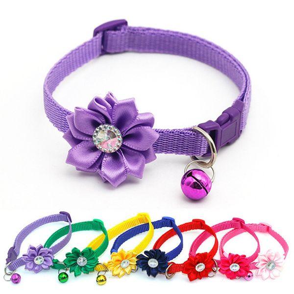 1Pc New Pet Cat Collar Bell Flower Adjustable Easy Wear Buckle Dog Collar Bells Lovely Flower Cat Necklace Pet Supplies