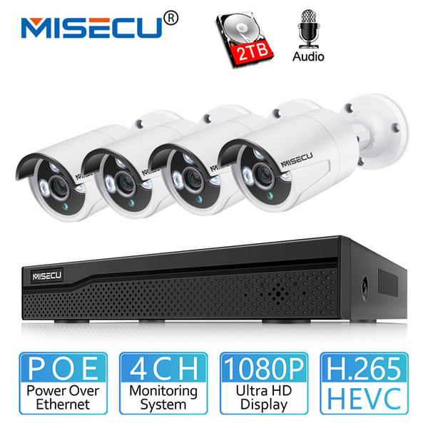 MISECU 4CH POE CCTV Surveillance System 1080P 2MP Audio Record POE IP Camara IR Vision Emai Alert Outdoor Security Video System
