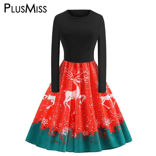 PlusMiss Plus Size 5XL Vintage Elk Printed Christmas Party Dresses Women Big Size Long Sleeve Dress Vintage 2018 XXXXL XXXL XXL