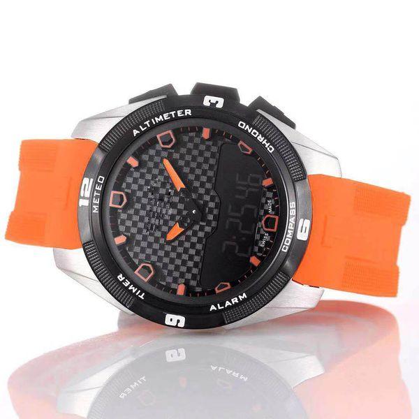 Luxury Brand T-Touch Expert Solar T091 Black Dial Chronograph Quartz Orang Rubber Strap Deployment Clasp Men Watch Wristwatches Mens Watches