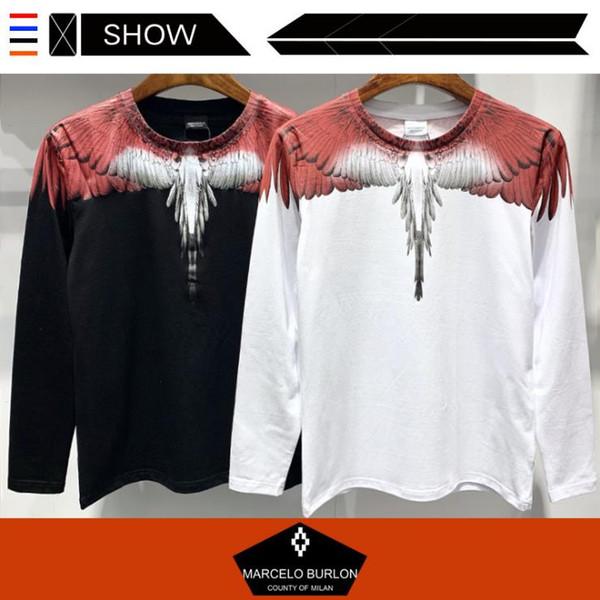 Camisa fina de diseñador para hombres Nueva moda caliente Marcelo Buron Vermilion Wings Camiseta de manga larga Hombres Pullover Tallas grandes M-3XL