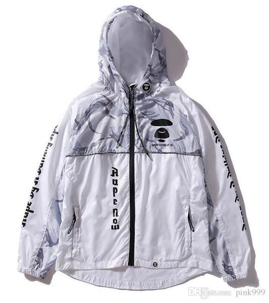 kanye west y-3 chaqueta cortavientos con capucha de primavera A Bathing AAPE Ape Shark chaqueta hombres mujeres MA1 Piloto motocicleta béisbol camuflaje chaquetas deportivas
