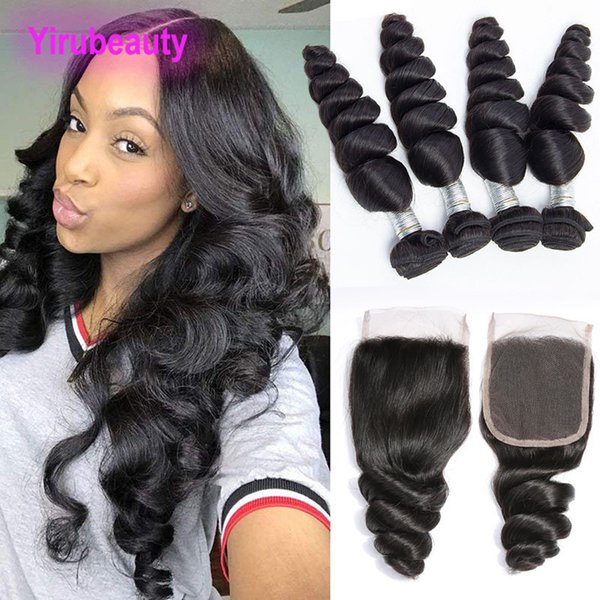 Peruvian Virgin Human Hair 9A Wholesale 4 Bundles With 4x4 Lace Closure Loose Wave Curly Bundles With Closures 8-28inch