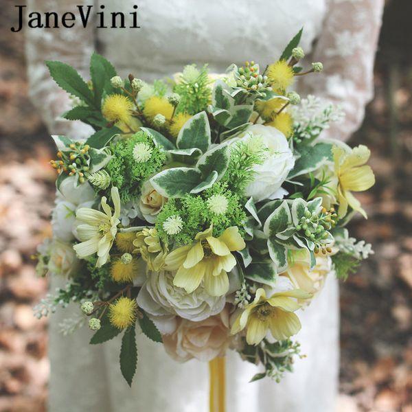 JaneVini Zarif Düğün Buketleri Sarı Gelin Çiçekleri Sahte Buket Mariage Yapay İpek Güller Gelinler Düğün Aksesuarları Buque De Noiva