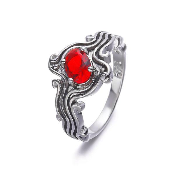 Carino rosso blu pietra anelli di nozze per le donne onda zircone cz fidanzamento fidanzamento abito da sposa amante regalo di compleanno