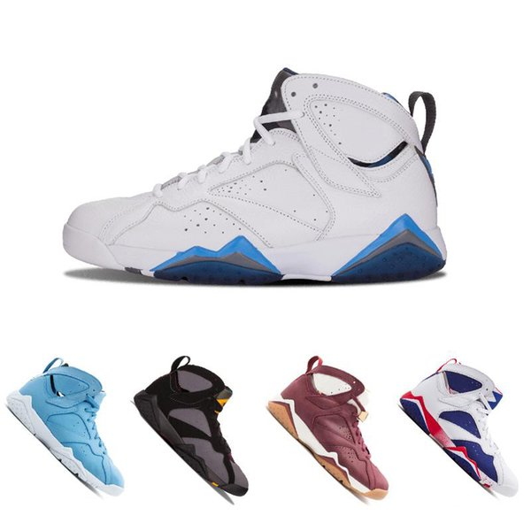 Nouveau 7 Chaussures de basket-ball Hommes Femmes 7s VII Pourpre UNC Olympic Panton Argent pur Rien Raptor N7 Zapatos Trainer Sport Sneaker