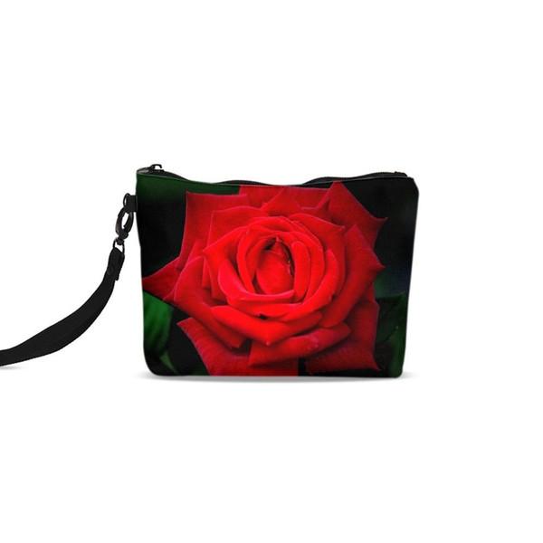 Retro Red Rose Flor Moda 3D Impressão Feminina Cosméticos Sacos de Mulheres Organizador de Maquiagem Caso de Armazenamento Meninas Saco de Moeda Do Telefone de Viagem 2018