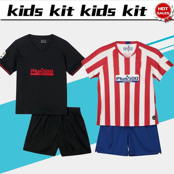 2019 Kids Kit Madrid away Nero Maglie calcio nero 19/20 Abiti da calcio per casa per bambini # 6 KOKE # 9 MORATA uniformi da calcio per bambini + pantaloncini