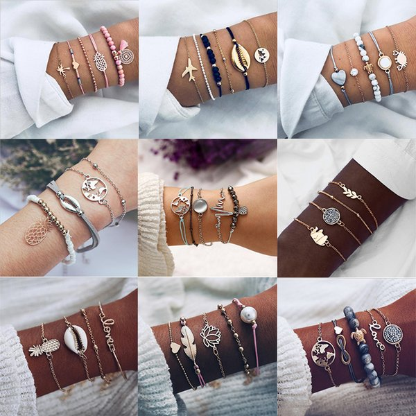 AY 9 Styles Bohemia Heart Rope chain Bracelets Set Letters Love Pineapple Shell Bracelet & Bangle Jewelry Gift for Friends