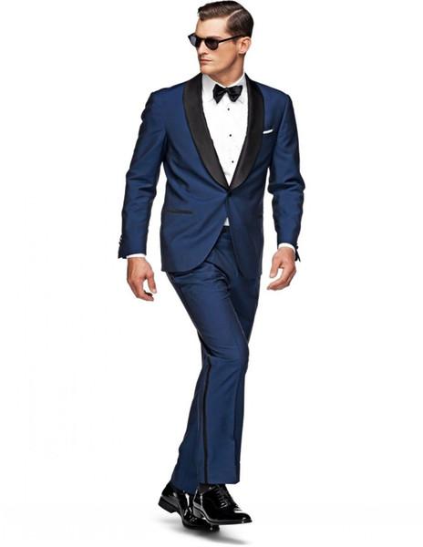 Popolare One Groomsmen Scialle Risvolto Smoking dello sposo Groomsmen Best Man Suit Mens Abiti da sposa Sposo (Jacket + Pants + Tie) B187