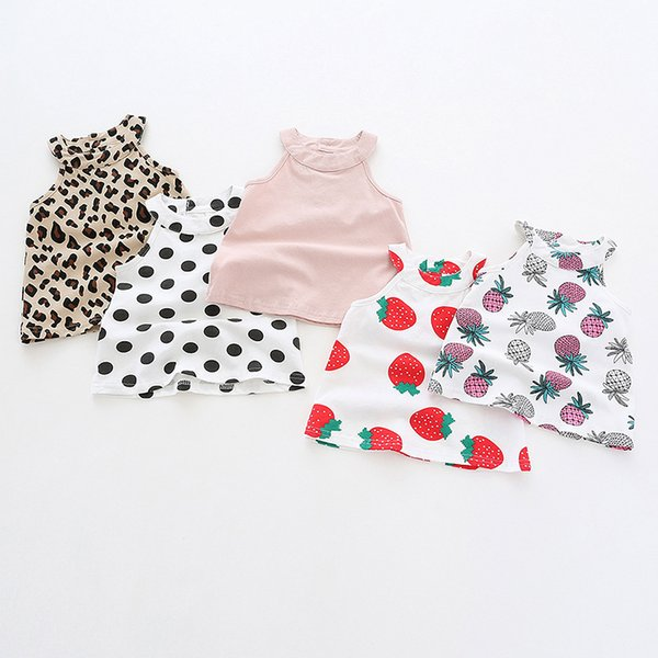 baby girl clothes Short Sleeve Round collar Strawberry Pineapple Leopard Print shirt kids causal 100% cotton girl causal T shirt