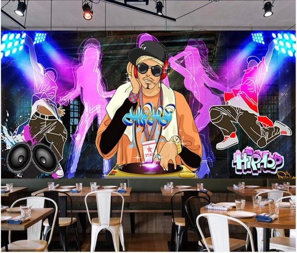 WDBH street murale papier peint photo personnalisé musique Graffiti tendance dynamique danse KTV fond décor de fond d'écran Accueil vie salle pour les murs 3 d