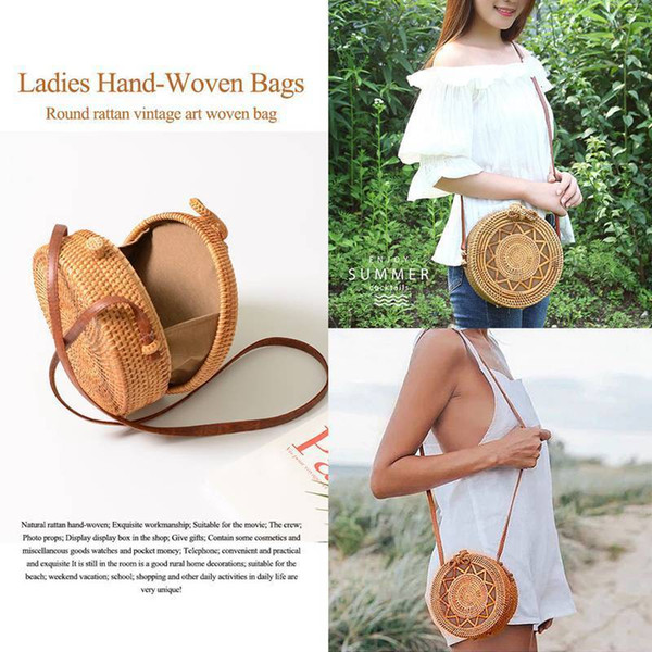Ins New Ladies Hand-woven Bag Round Rattan Retro Art Hand-woven Bag Bohemian Hollow Five-pointed Star Beach Round Shoulder Bag