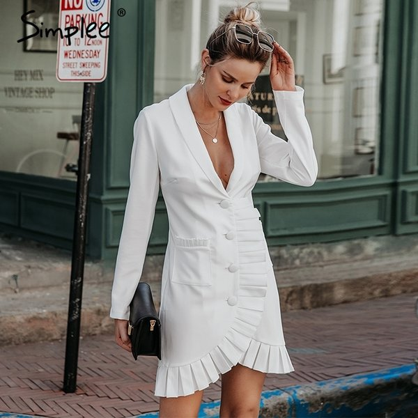 Simplee Sexy v-neck women blazer dress Elegant signal breasted frill white office dress Party style ladies pockets mini dresses V191019