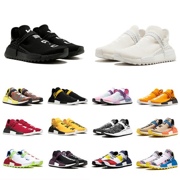 Barato 36-47 Raza humana Carrera Zapatos para correr Hombres Mujeres Pharrell Williams HU Lienzo en blanco amarillo Igualdad roja Empollón zapatillas de deporte deportivas