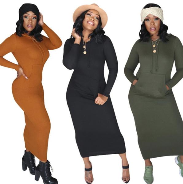 Las mujeres calientes del color sólido vestidos maxi atractivo del club elegantes sudaderas caen bolsillo vestido sencillo fiesta columna vaina de ropa de invierno 2320