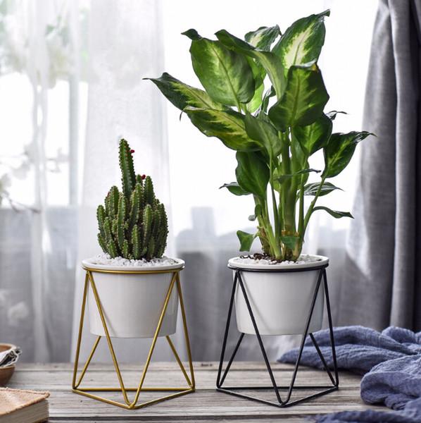 Nordic carnosa macetas jarrón de hierro forjado marco de hierro simple soporte de flor de cerámica hidropónico maceta verde plantador conjunto