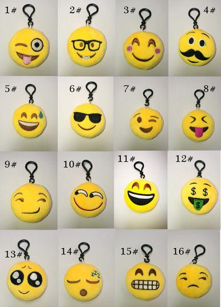 Jouets cadeaux nouveaux 55 style jouets Emoji pour enfants Emoji Porte-clés Mixte Emoji Porte-clés Sac pendentif 5.5 * 2.5 cm Livraison gratuite E765